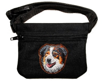 Embroided dog treat waist bag. Breed - Australian Shepherd. For dog shows and training. Great gift for breed lovers.