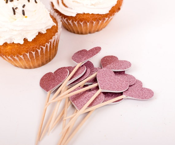 Heart Pink Glittered Party Picks Party Wedding Toothpicks, Birthday food picks, Glittered Cupcake toppers, Muffins decoration QTY of 24