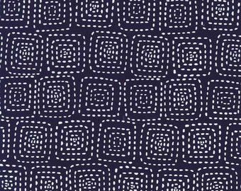Stitch Square in Navy by Michael Miller Fabrics 2070