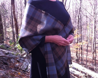 Outlander Inspired Scottish Tartan Stole. Brown and gray-blue. Pure wool woven in Scotland.