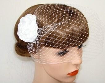 Birdcage Veil with Flower – Hair Clip with Veil – Ivory - Birdcage Veil Detach Bridal Fascinator Bridal Hairpiece - Veil French Netting Veil