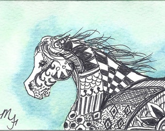 Race - ACEO in watercolor and pen/ink Horse