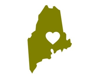 I Love Maine Custom Die Cut Vinyl Decal Sticker - Choose your Color and Size