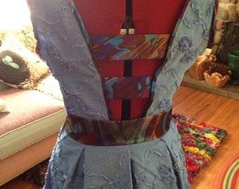 Periwinkle scroll embellished linen dress