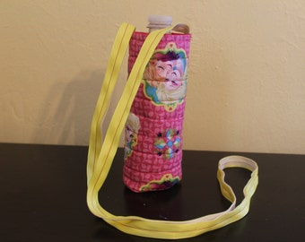 Anna and Elsa childs insulated/quilted water bottle carrier
