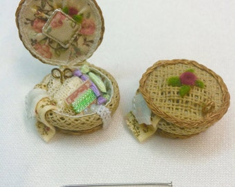 Handmade  canvas sewing  basket