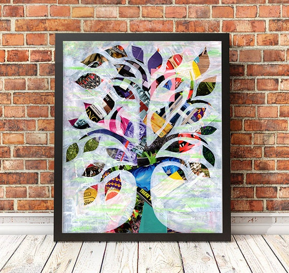Tree of life wall art wedding gift mother 39 s day gift by for Mixed media canvas art ideas