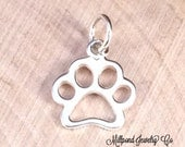 Paw Print Charm, Paw Print Pendant, Paw Print Cut Out Charm, Animal Lover Charm, Dog Lover, Sterling Silver Charm, PS0179