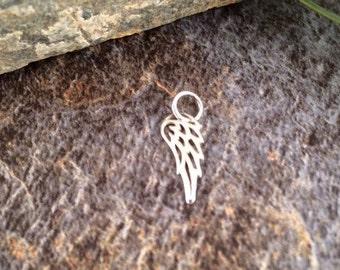 Angel Wing Charm, Angel Wing Pendant, Sterling Silver Angel Wing, Bird Wing Charm, Tiny Wing Charm, PS0122