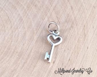 Key Charm, Key Pendant, Small Key Charm, Heart Key Charm, Heart Key Pendant, Silver Key Charm, Silver Key Pendant, PS01157