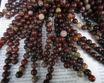 10mm natural poppy jasper round beads, 15.5 inch