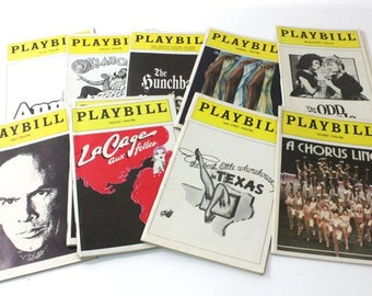 Playbills from Broadway classic shows in 1950s, '60s, '70s, '80s and '90s