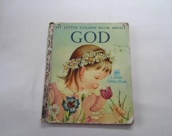 Vintage My Little Golden Book about God, Vintage 1972 My Little Golden Book About God; 1972 Little Golden Book, Little Golden Book About God