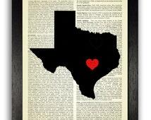 TEXAS STATE Art Print, Texas State Map Poster, Texas Love Heart Wall Decor, Custom State Artwork, Texas Map Print, Custom Texas Map Artwork