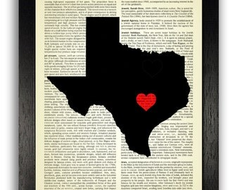 TEXAS STATE Art Print, Texas State Map Poster, Texas Love Heart Wall Decor, Custom State Artwork, Texas Map Print, Custom Texas Map Artwork
