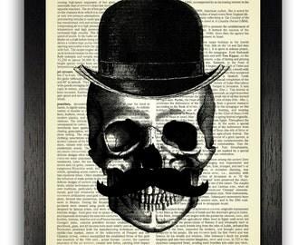Dandy Skull - Claude, Vintage Skull Poster, Skeleton Poster, Skull Wall Decor, Gothic Decals, Bedroom Wall Decor, Anatomical Art Gift