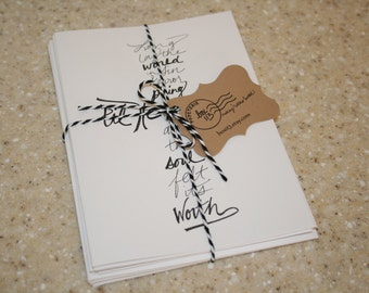 """Set of 8 hand-lettered white """"Til He Appeared"""" cards with envelopes (5"""" x 7"""")"""