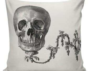 Halloween Goth Skull Cushion Pillow Cover cotton canvas throw pillow 18 inch square #UE0133 Urban Elliott