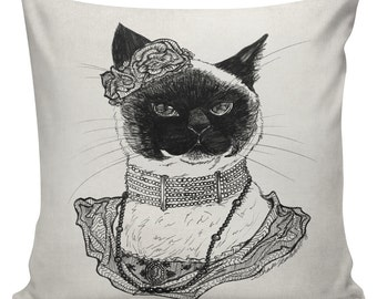 Cat Pillow Cover Cotton Canvas Throw Pillow 18 inch square Edwardian Cat Lady Cora  #UE0341 Anthropomorphism