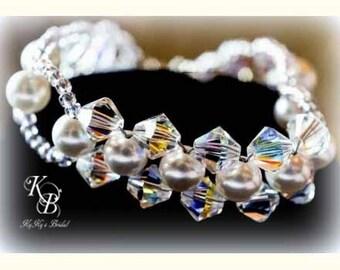 Bridal Bracelet, Pearl and Crystal Bracelet, Pearl Bridal Jewelry, Woven Bracelet, Wedding, Bridal Jewelry, Bridal Accessories, Bride