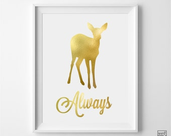 Harry Potter Poster, Harry Potter Always Print, Deathly Hallows Print, Nursery Decor, Gold Wall Art, Harry Potter Nursery Art, Matte Gold