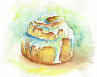 Cinnamon Roll Watercolor Print