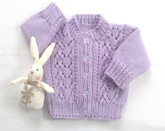 Baby girl cardigan - 6 to 12 months - Baby shower gift - Baby knitwear - Baby girl clothing - Infant mauve sweater