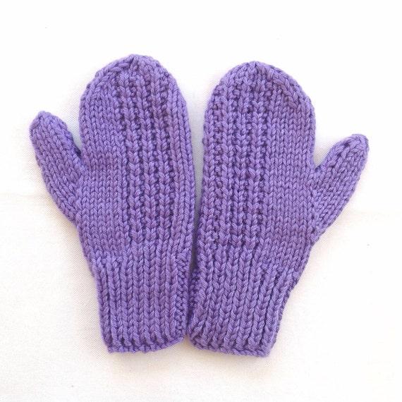 Ladies Mittens Knitting Pattern : Womens knit mittens Purple knitted mittens Teens