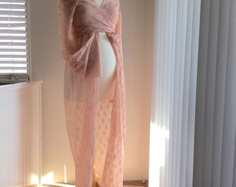 Blush pink Lace Maternity Gown with Lace Long Sleeves Top/2 pieces set/Maternity Lace Dress/Maternity photo props