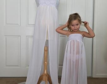 Mammy and Me Dress set, Chiffon/Lace Maternity and Girl Gown, Senior photo, Girl dress, Maternity dress