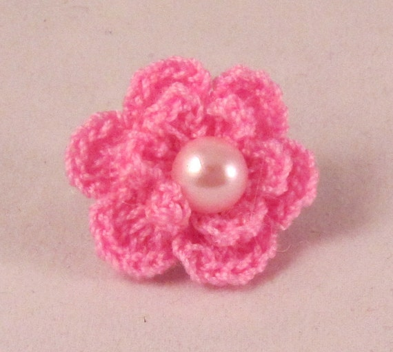 Items similar to Mens Crochet Flower Lapel Pin with Pearl ...