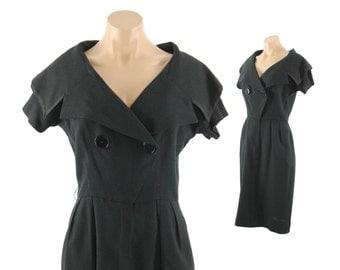 Vintage 60s Little Black Dress Wiggle Dress Short Sleeve LBD Mr. Mort Sailor Style Womens Fall Fashion 1960s Medium M Party Dress