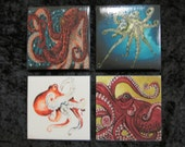 Octopus themed ceramic tile coasters with cork backing.