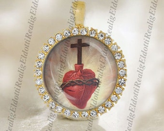 Jesus Christ Sacred Heart Religious Christian Catholic Gold Medal Pendant Jewelry