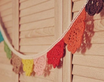 Small Rainbow Cotton Lace Handmade Vintage Flag Bunting Banner
