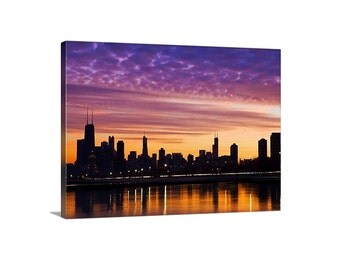 Chicago Canvas - Chicago skyline canvas - Large Canvas Print - Chicago Cityscape - Chicago sunset photo. Modern urban wall decor.