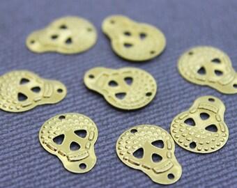 250 Raw Brass Skull Charms 14x10 mm (GB-1020) Gold Skull Charms, Gold Skull Pendant, Raw Brass Skull Pendant, Brass Skull, Brass Skeleton
