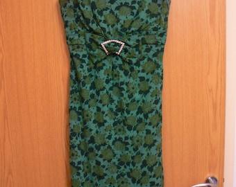 FLASH SALE* Original Vintage 1950's Green Rhinestone Floral Wiggle Dress, Size Small