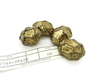 Large Gold Nugget Vintage Lucite Beads, West Germany Beads, 4 pcs