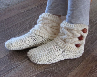 Off White Knitted Cozy Slippers - Slipper Socks - Off White Slippers - READY TO SHIP in size 6 -7.