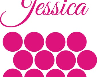 Huge name and Polka Dots Choose Your Size. perfect for any room!! Add some custom flair to any wall