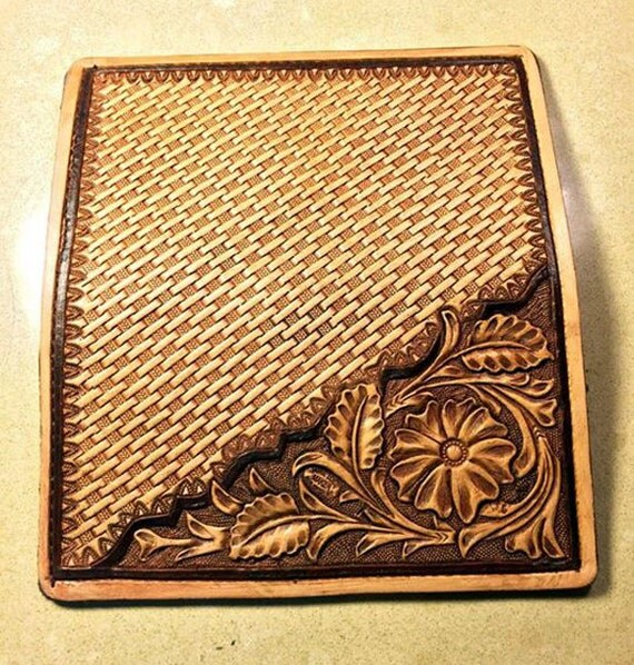 Hand Tooled Sheridan Style Amp Basket Stamped Leather Roper