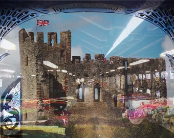 Dudley town unique urban photographic collage print 42cm x 29.7mm - Dudley Castle, Market, Archway