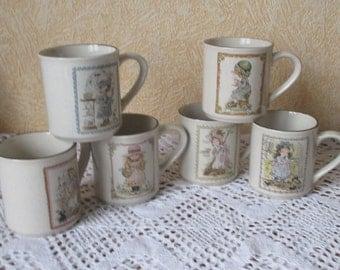 Vintage set of 6 Holly Hobby Mugs Sue Sunbonnet Valentine Australia