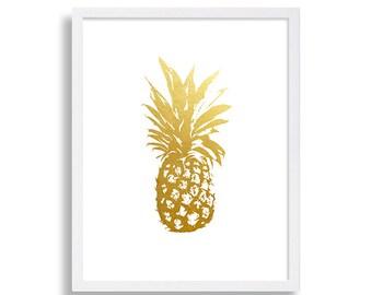 Gold Pineapple Print Faux Gold Foil Print Minimalist Art Print Modern Home Decor Living Room Art Fancy Poster White & Gold Print Classic Art