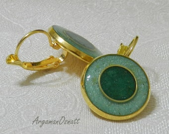 Round gold earrings with green glaze, Round gold and green earrings. Lever back green earrings.