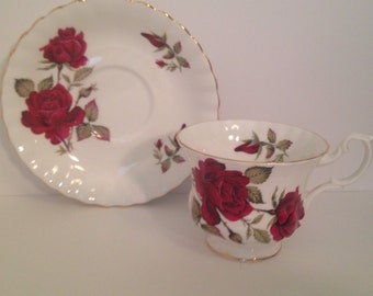 Vintage Royal Albert Tea Cup and Saucer Set- Red Roses