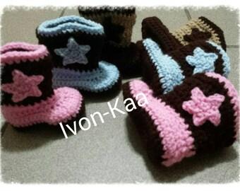 Winter,fall crochet baby cowboy booties  newborn, infant,shoes,hand-made,baby shower,wedding, christening