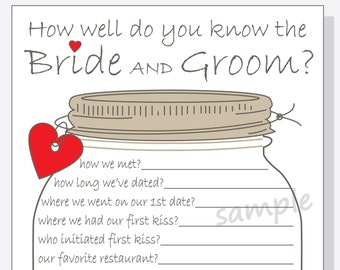 How Well Do You Know The Bride and Groom? Printable Cards - Bridal Shower Game DIY - Rustic Mason Jar Design - red, purple or pink hearts
