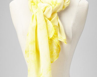 Tie and Dye Yellow White Scarf - Soft & Cozy